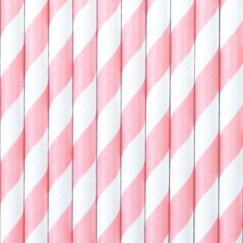 PartyDeco Słomki papierowe jasnoróżowe paski - 10 sztuk - Pan Talerzyk