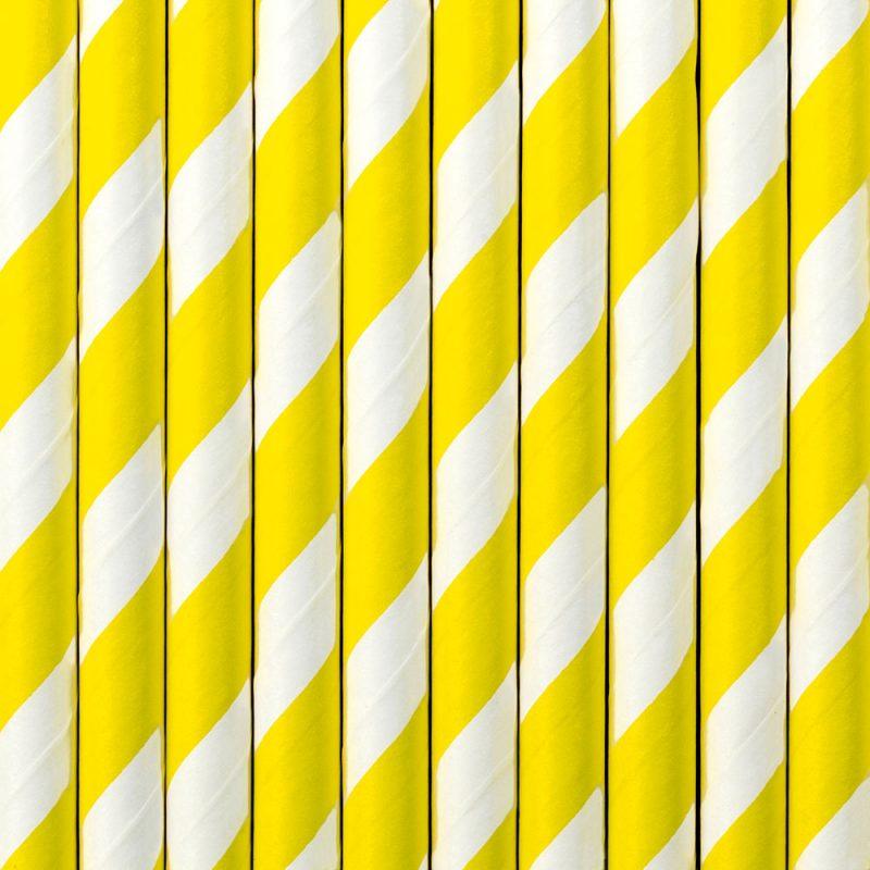 PartyDeco Słomki papierowe żółte paski - 10 sztuk - Pan Talerzyk