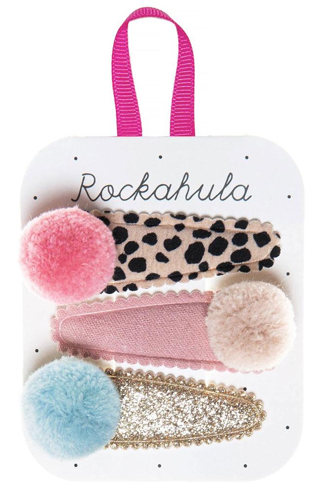 Rockahula Kids Spinki do włosów Pandora Pom Pom Leopard - Pan Talerzyk