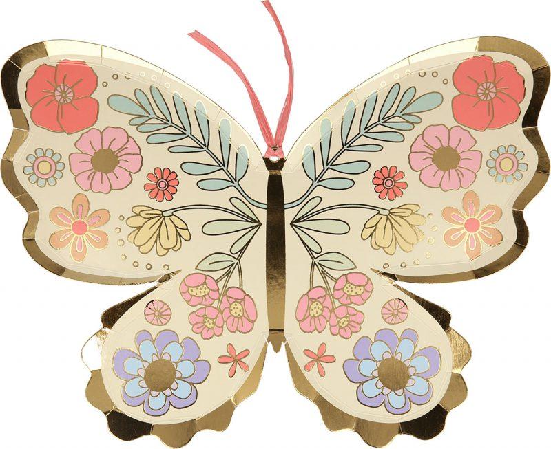 Meri Meri Talerzyki kwiatowy motylek - 8 sztuk - Pan Talerzyk