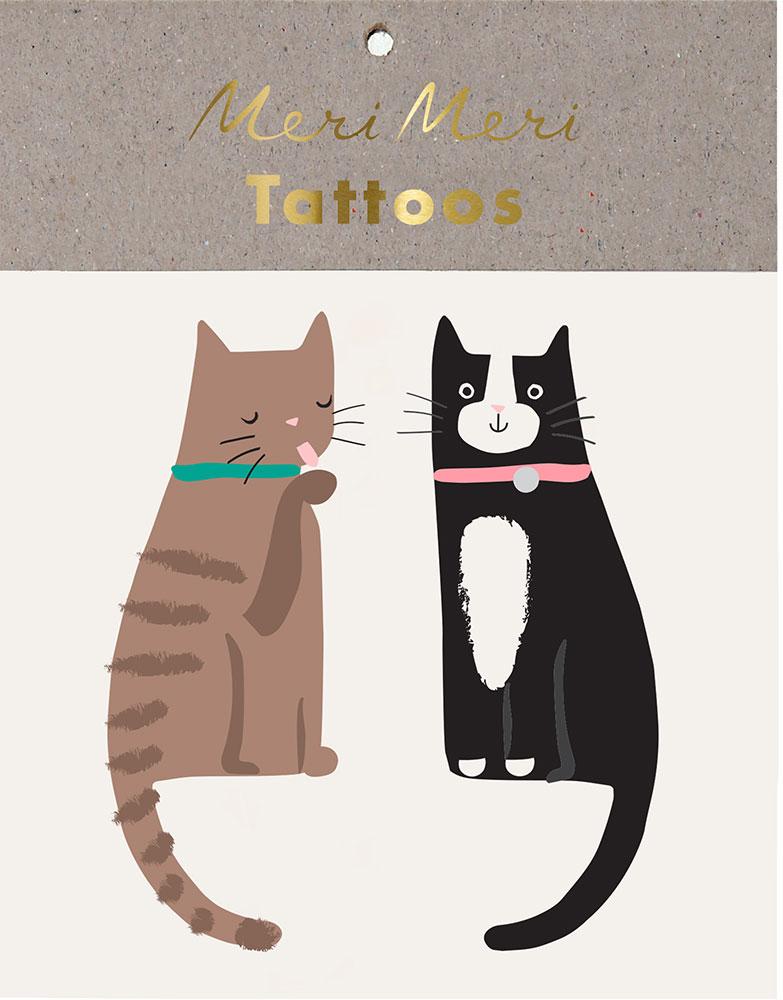Meri Meri Tatuaże uśmiechnięte kotki - Pan Talerzyk