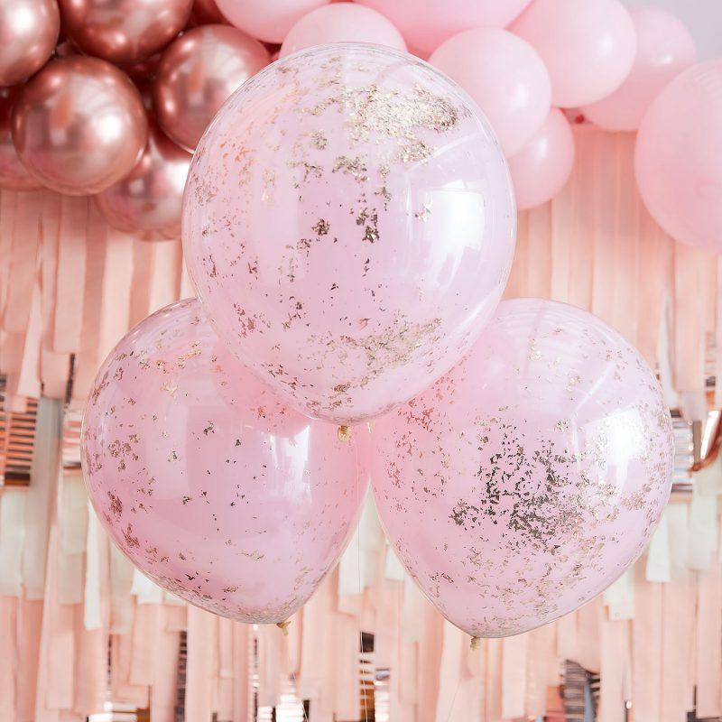 Ginger Ray Balony z konfetti dwuwarstwowe różowe złoto - 3 sztuki - Pan Talerzyk