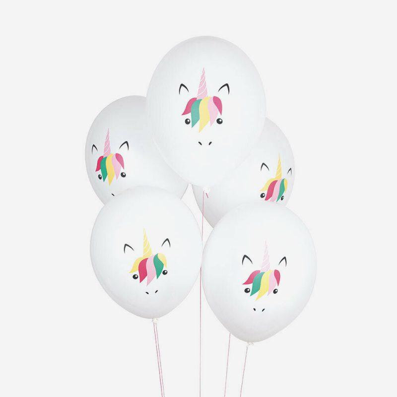 My Little Day Balony z nadrukiem jednorożce – 5 sztuk - Pan Talerzyk