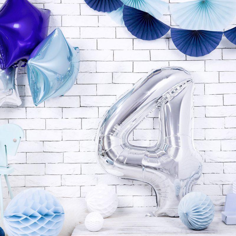 Party Deco Balon foliowy 86 cm - srebrna cyfra 4 - Pan Talerzyk