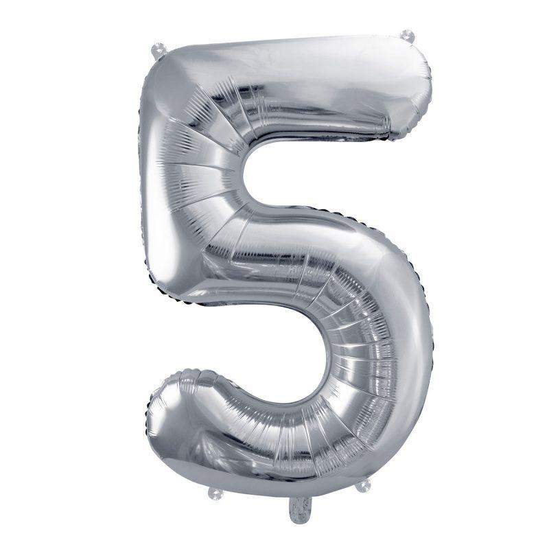 Party Deco Balon foliowy 86 cm - srebrna cyfra 5 - Pan Talerzyk