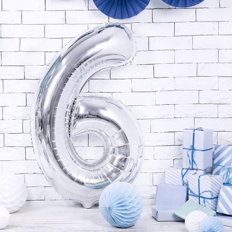 Party Deco Balon foliowy 86 cm - srebrna cyfra 6 - Pan Talerzyk