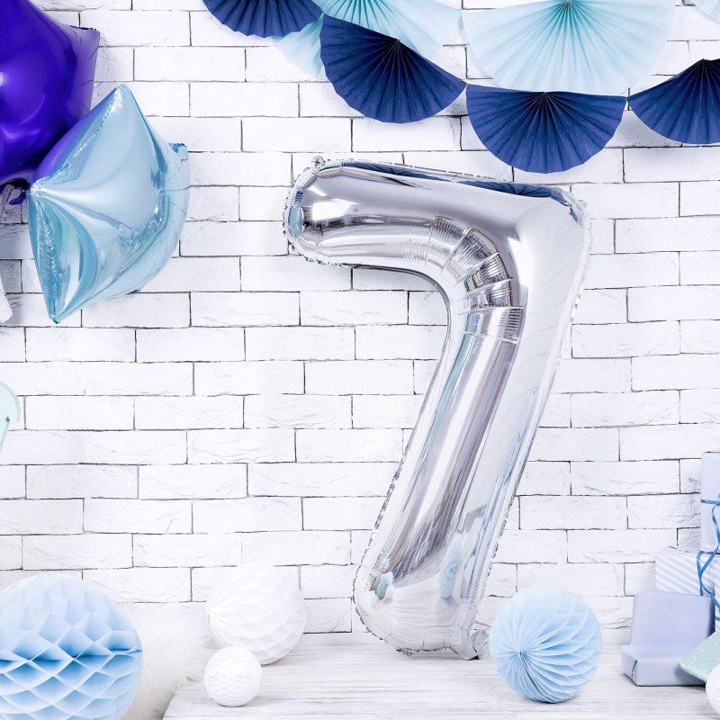 Party Deco Balon foliowy 86 cm - srebrna cyfra 7 - Pan Talerzyk