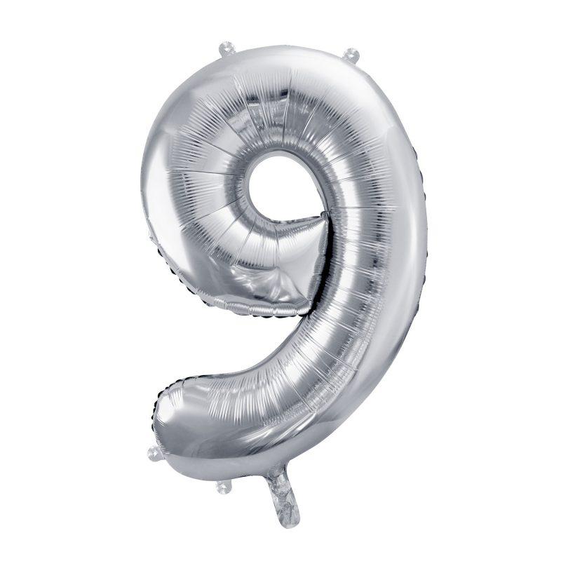 Party Deco Balon foliowy 86 cm - srebrna cyfra 9 - Pan Talerzyk