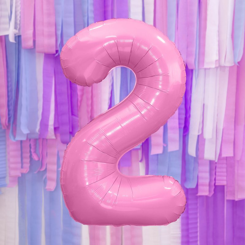 Party Deco Balon foliowy 86 cm - jasnoróżowa cyfra 2 - Pan Talerzyk