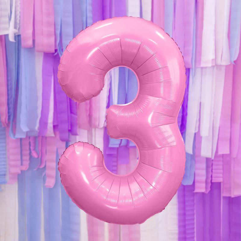 Party Deco Balon foliowy 86 cm - jasnoróżowa cyfra 3 - Pan Talerzyk